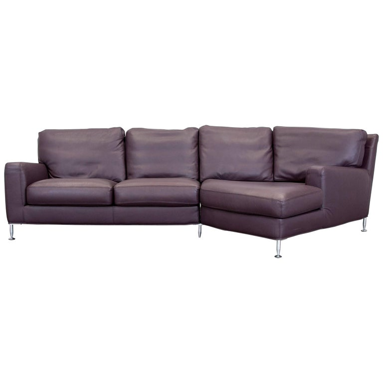 willi schillig designer corner sofa leather aubergine violet modern at 1stdibs. Black Bedroom Furniture Sets. Home Design Ideas