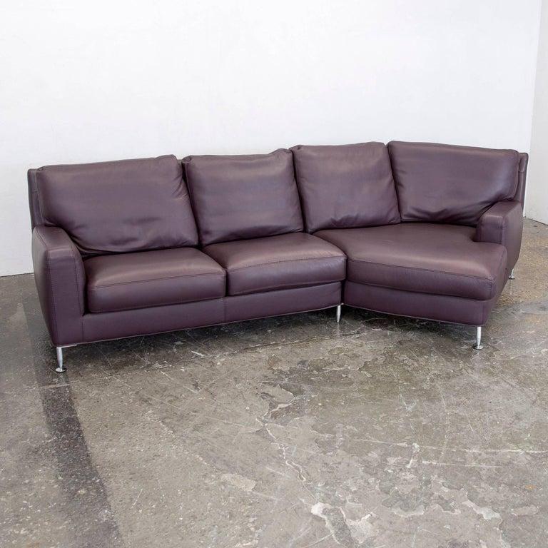 Willi Schillig Designer Corner Sofa Leather Aubergine Violet Modern