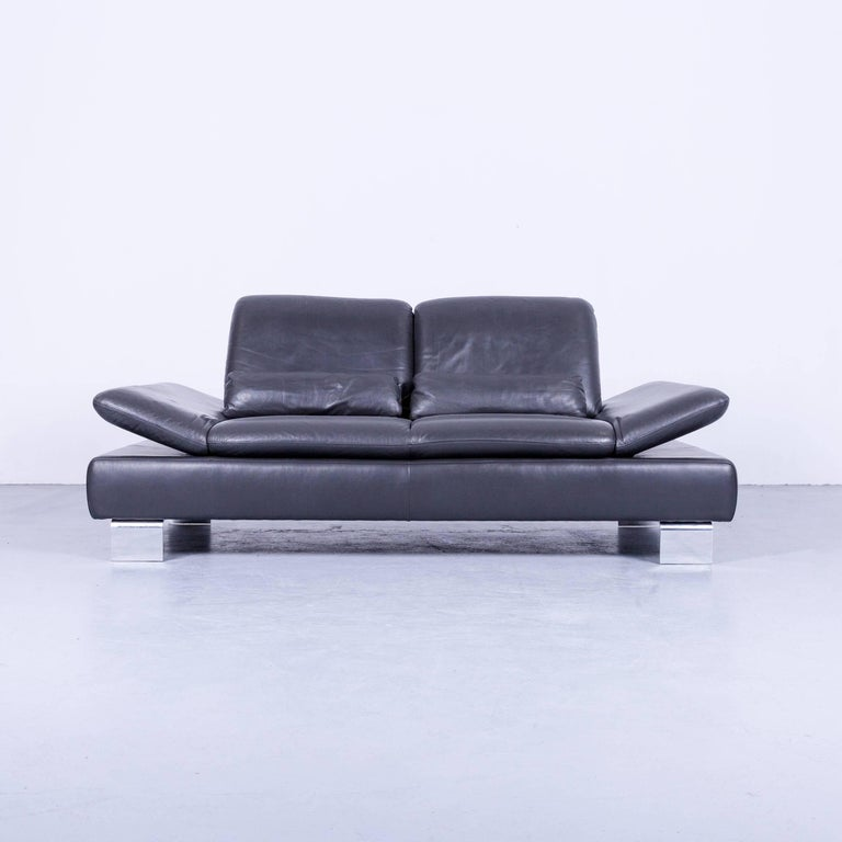 Anthracite colored original Willi Schillig designer leather sofa, in a minimalistic and modern design, made for pure comfort and style.