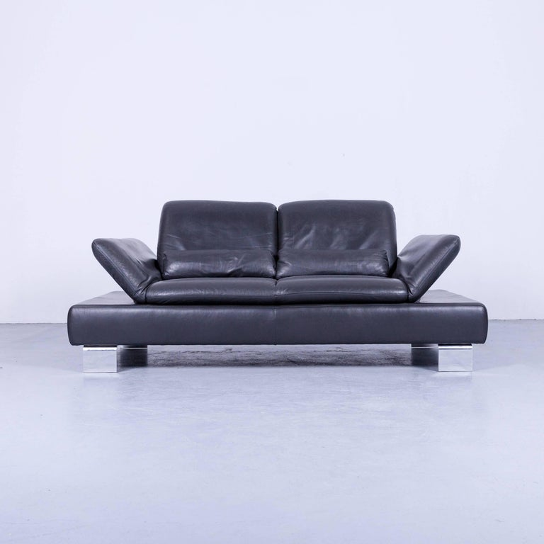 German Willi Schillig Designer Sofa Two-Seat Grey Anthracite Leather Couch Function For Sale
