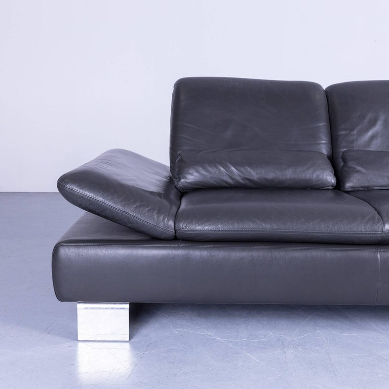 Contemporary Willi Schillig Designer Sofa Two-Seat Grey Anthracite Leather Couch Function For Sale