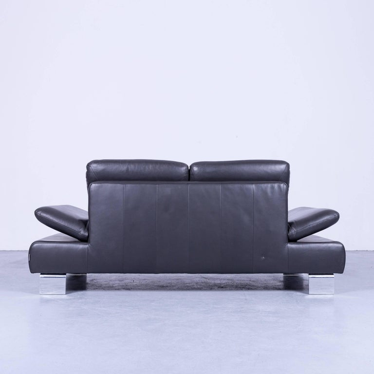 Willi Schillig Designer Sofa Two-Seat Grey Anthracite Leather Couch Function For Sale 2