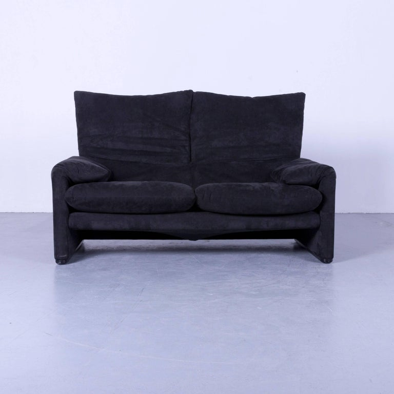 cassina maralunga designer sofa black alcantara two seat function modern at 1stdibs. Black Bedroom Furniture Sets. Home Design Ideas