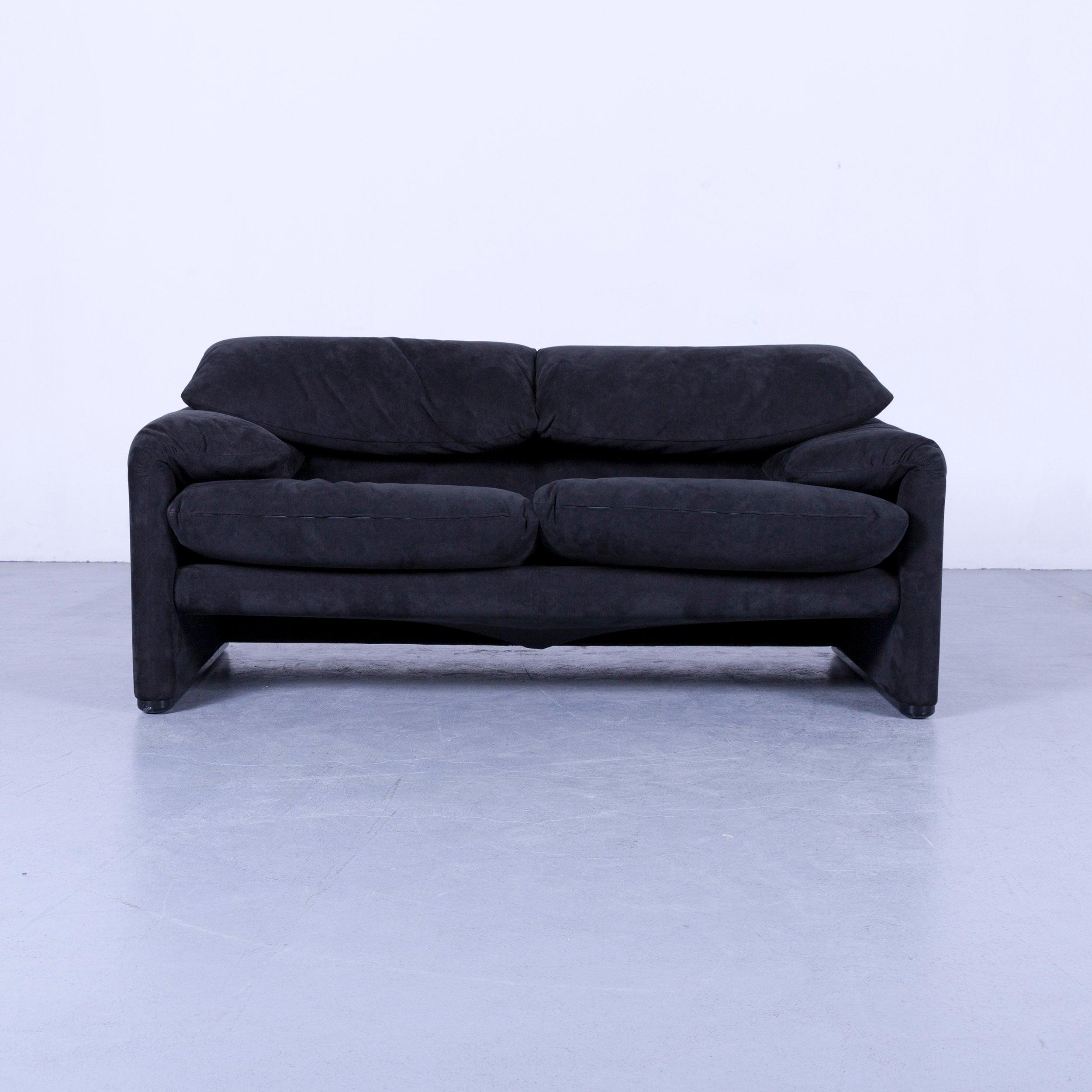 Sofa Alcantara cassina maralunga designer sofa black alcantara two seat function