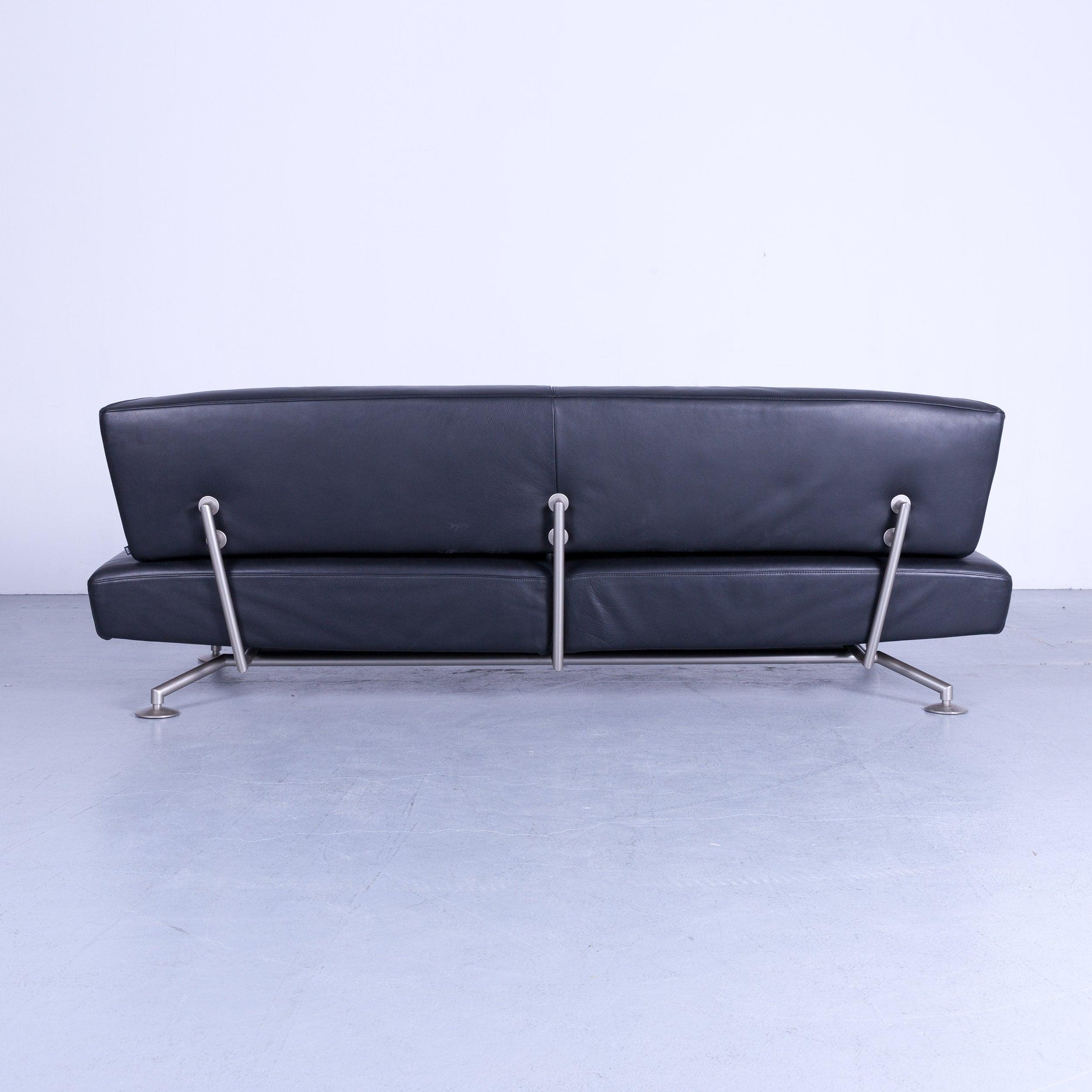 Cor Circum Designer Sofa Black Leather Three Seat Couch Function