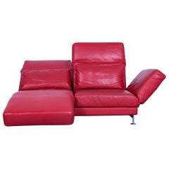 Brühl & Sippold Moule Designer Sofa Leather Red Two-Seat Couch Function Relax