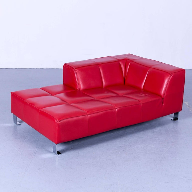 BoConcept Designer Chaise Longue Red Leather Sofa Couch Recamiere Couch