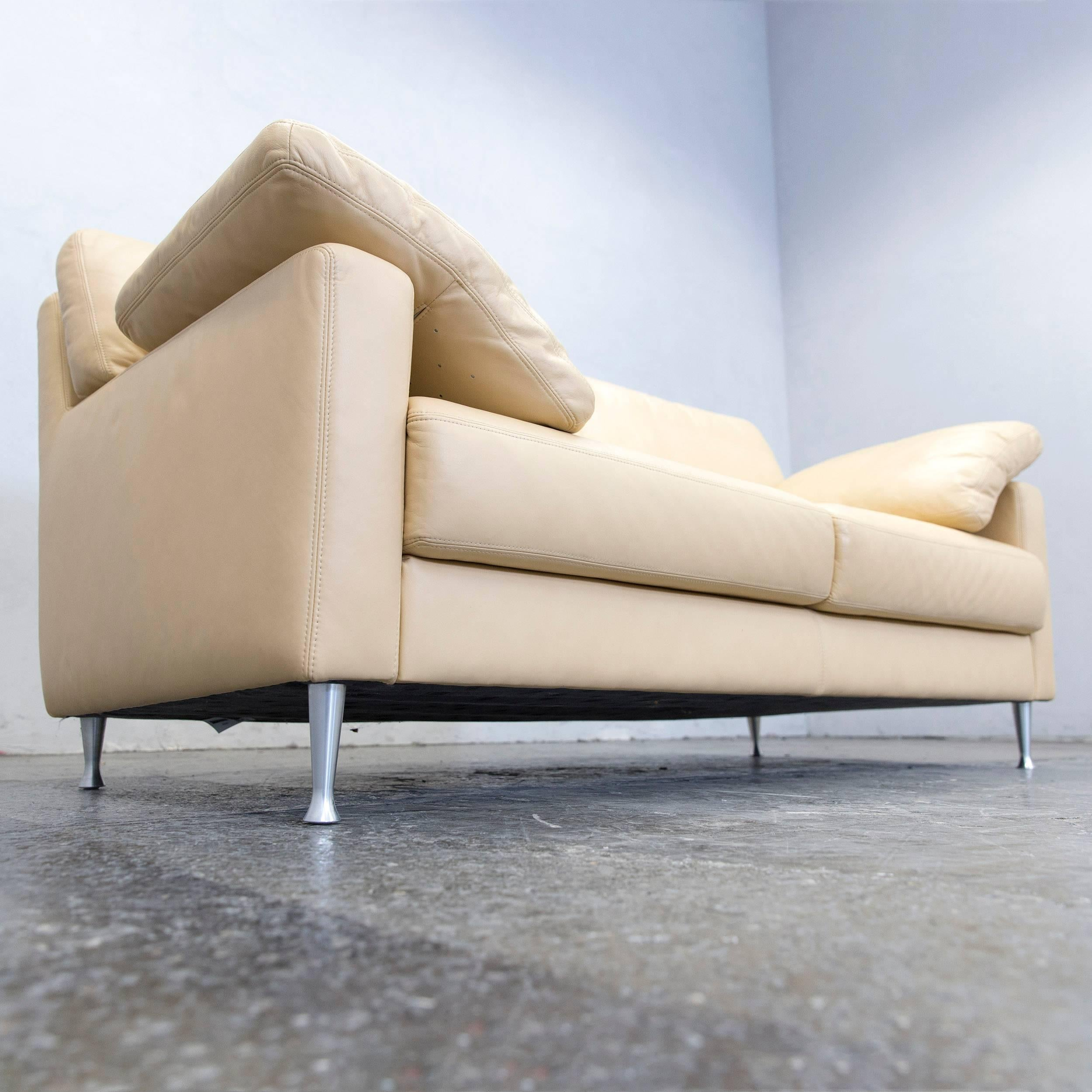 Musterring Designer Leather Sofa Beige Two Seat Couch Modern At 1stdibs
