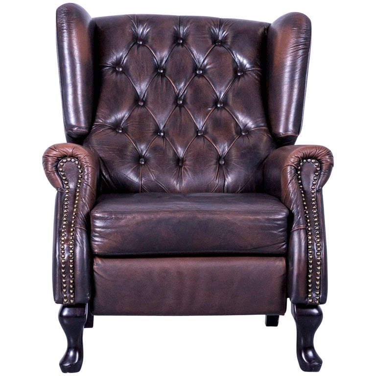 Chesterfield Armchair Mocca Brown Leather Oned Recliner Function Vintage For