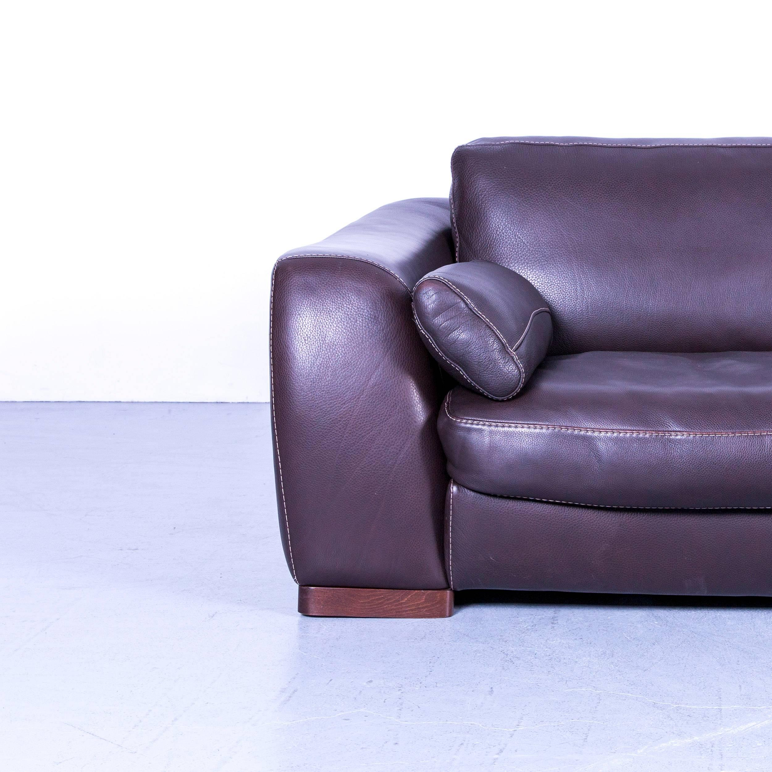 Incanto Designer Sofa Brown Three Seater Couch With Pillows Leather At  1stdibs