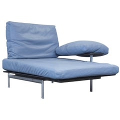 B&B Italia Designer Recamier Blue Leather Chaise Lounge Couch Modern