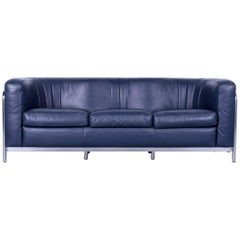 Zanotta Onda Designer Sofa Blue Leather Modern with Chrome Frame