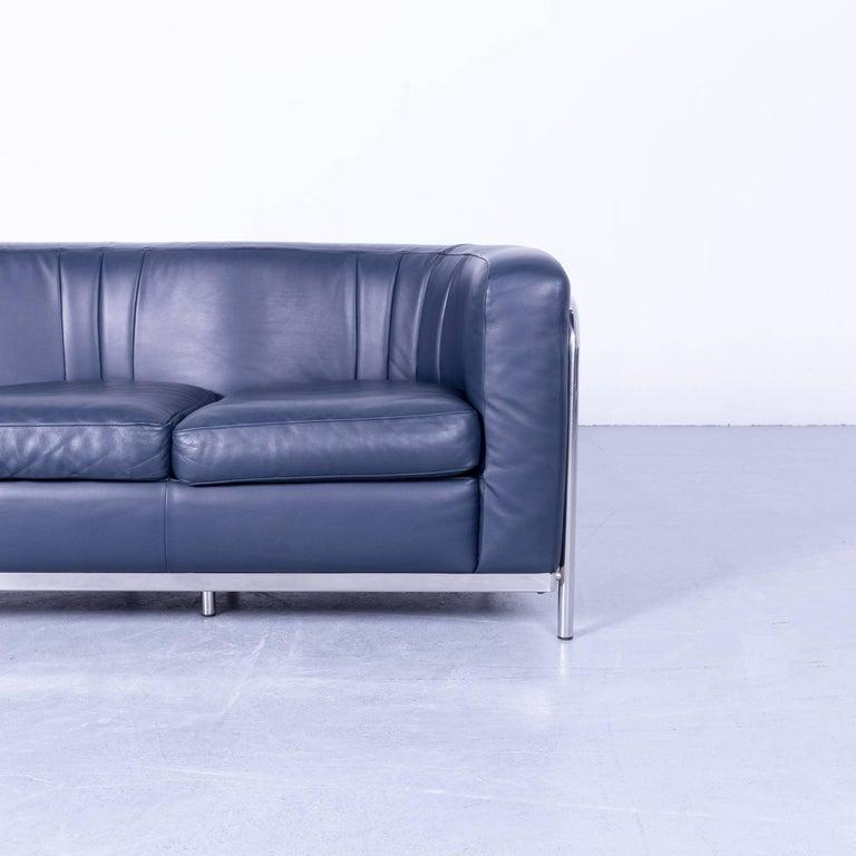 Zanotta Onda Designer Sofa Blue Leather Modern with Chrome Frame