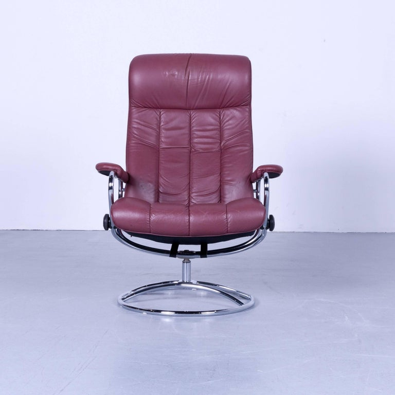 Remarkable Ekornes Stressless Armchair Set And Foot Stool In Red Ibusinesslaw Wood Chair Design Ideas Ibusinesslaworg
