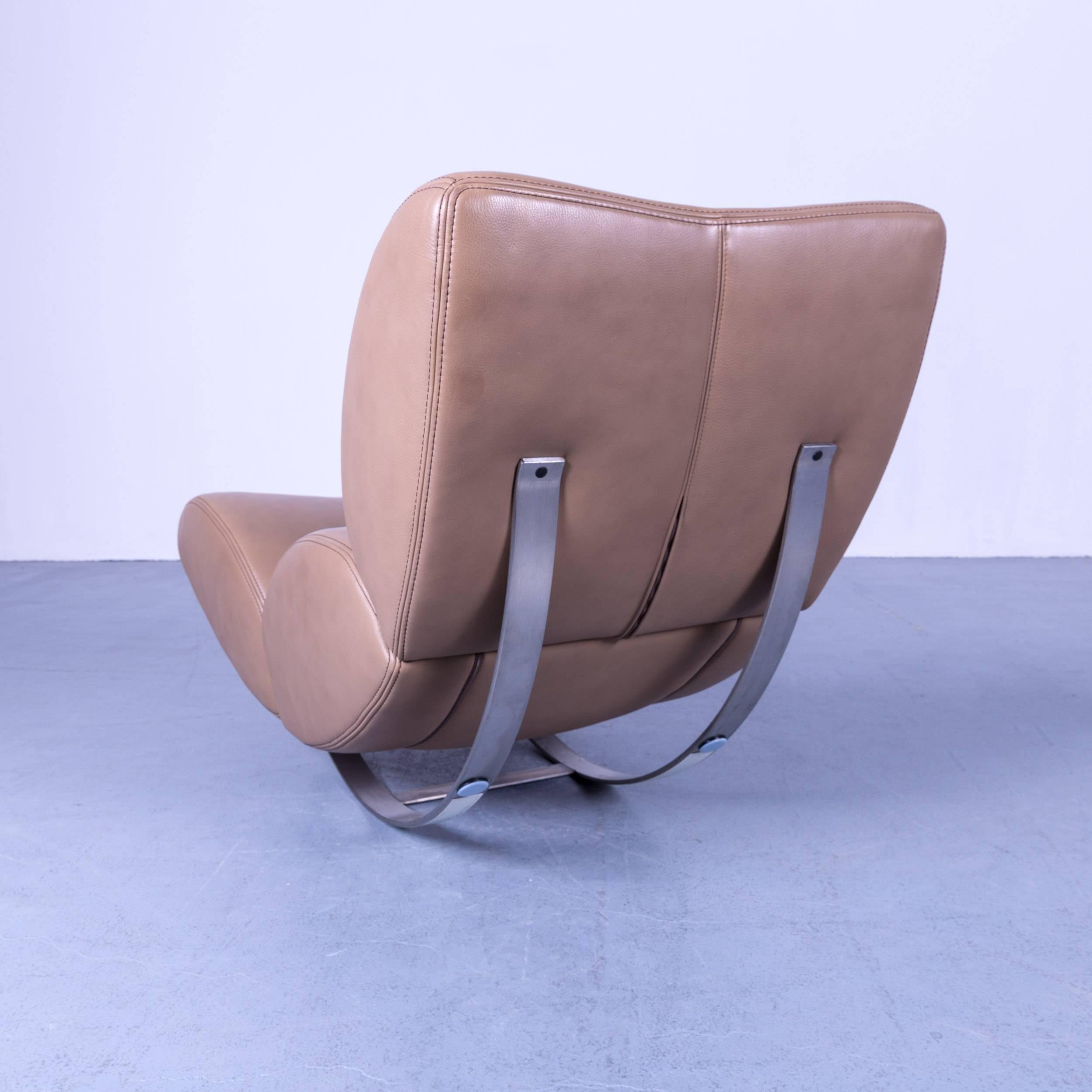 Koinor Jetlag Designer Rocking Chair Beige Creme Leather One Seat