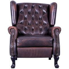 Chesterfield Armchair Mocca Brown Leather Buttoned Recliner Function Vintage