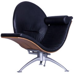 Designer Leather Lounge Chair Black Function Wood