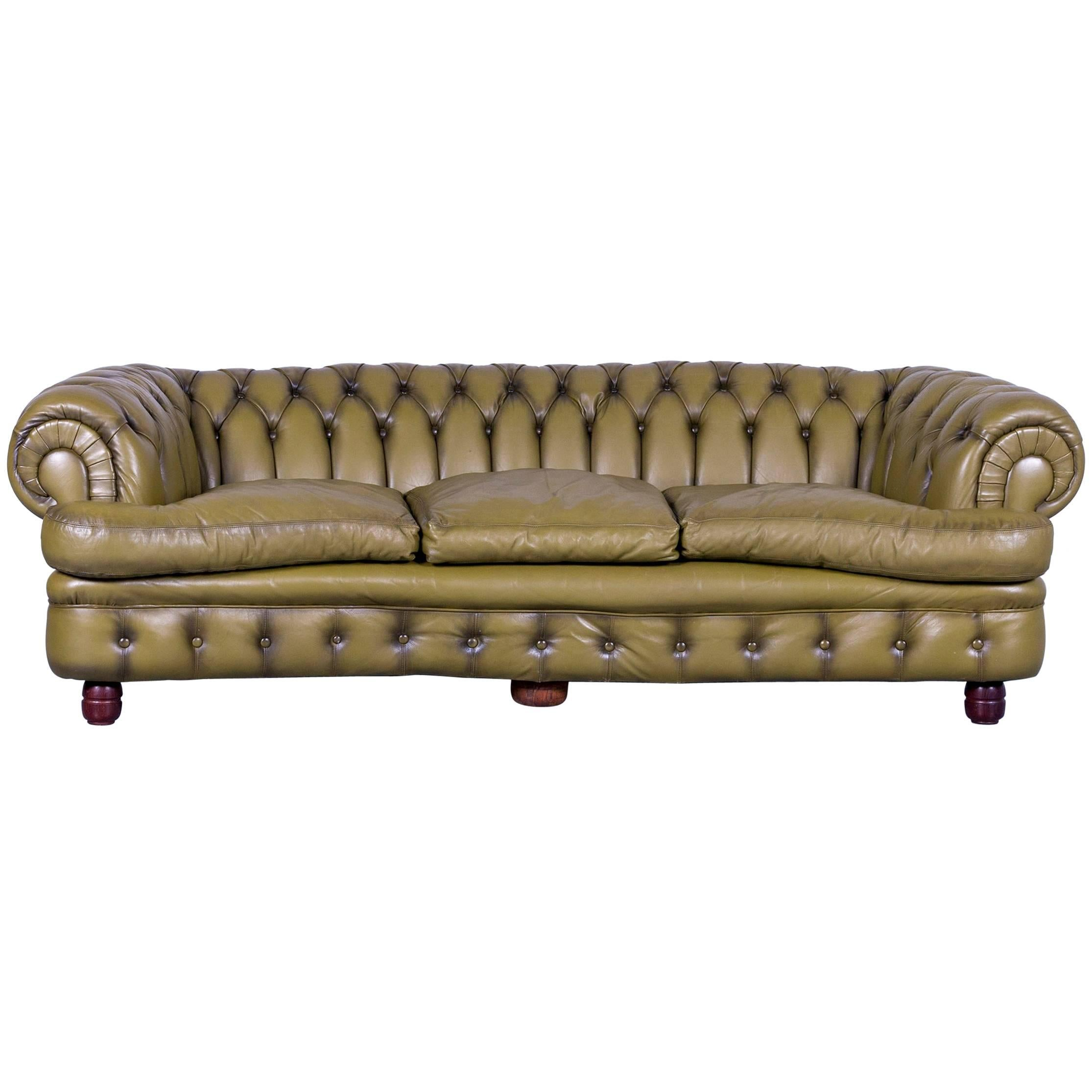 Chesterfield Sofa Green Three Seat Leather Couch Vintage Retro