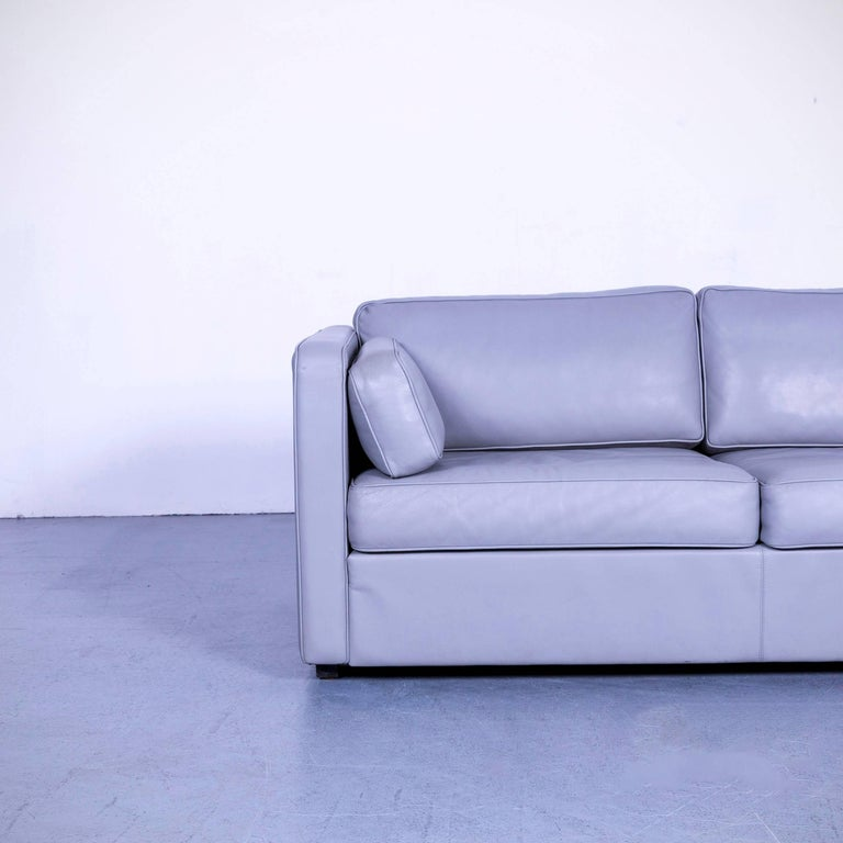 German Walter Knoll Leather Sofa Grey Two-Seat Couch For Sale