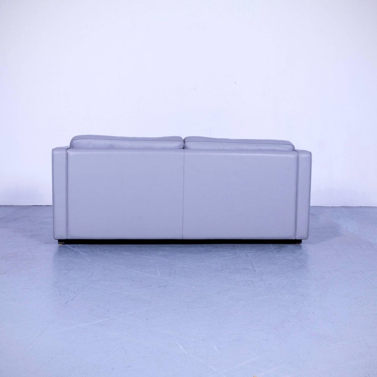 Walter Knoll Leather Sofa Grey Two-Seat Couch For Sale 3