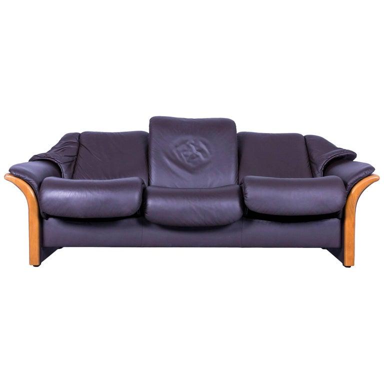 ekornes stressless leather sofa black three seat at 1stdibs