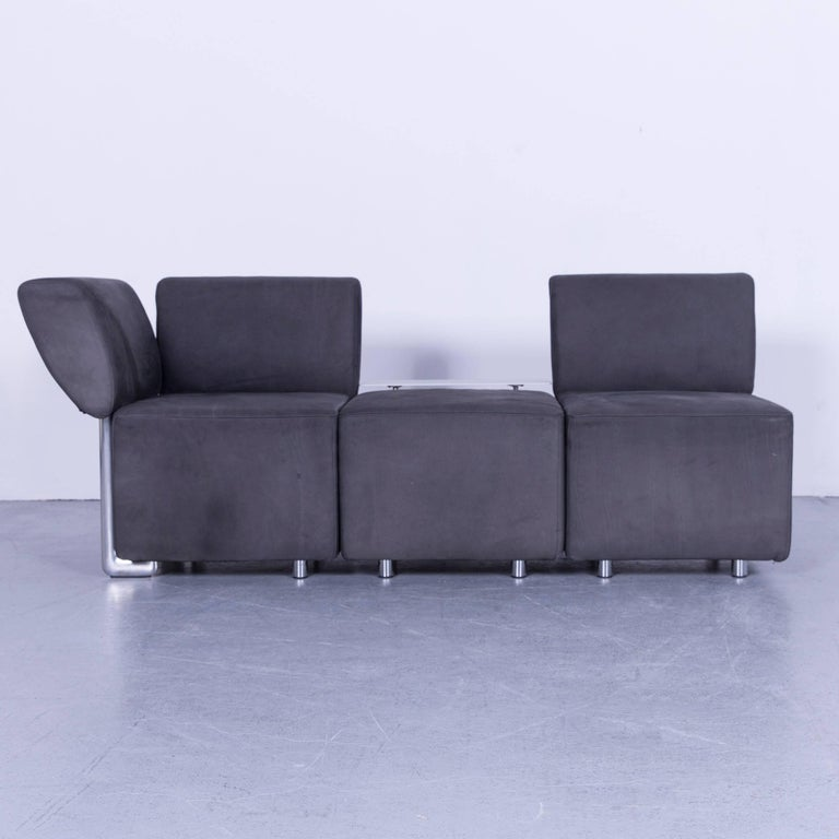 Contemporary COR Clou Leather Sofa Grey Three-Seat For Sale