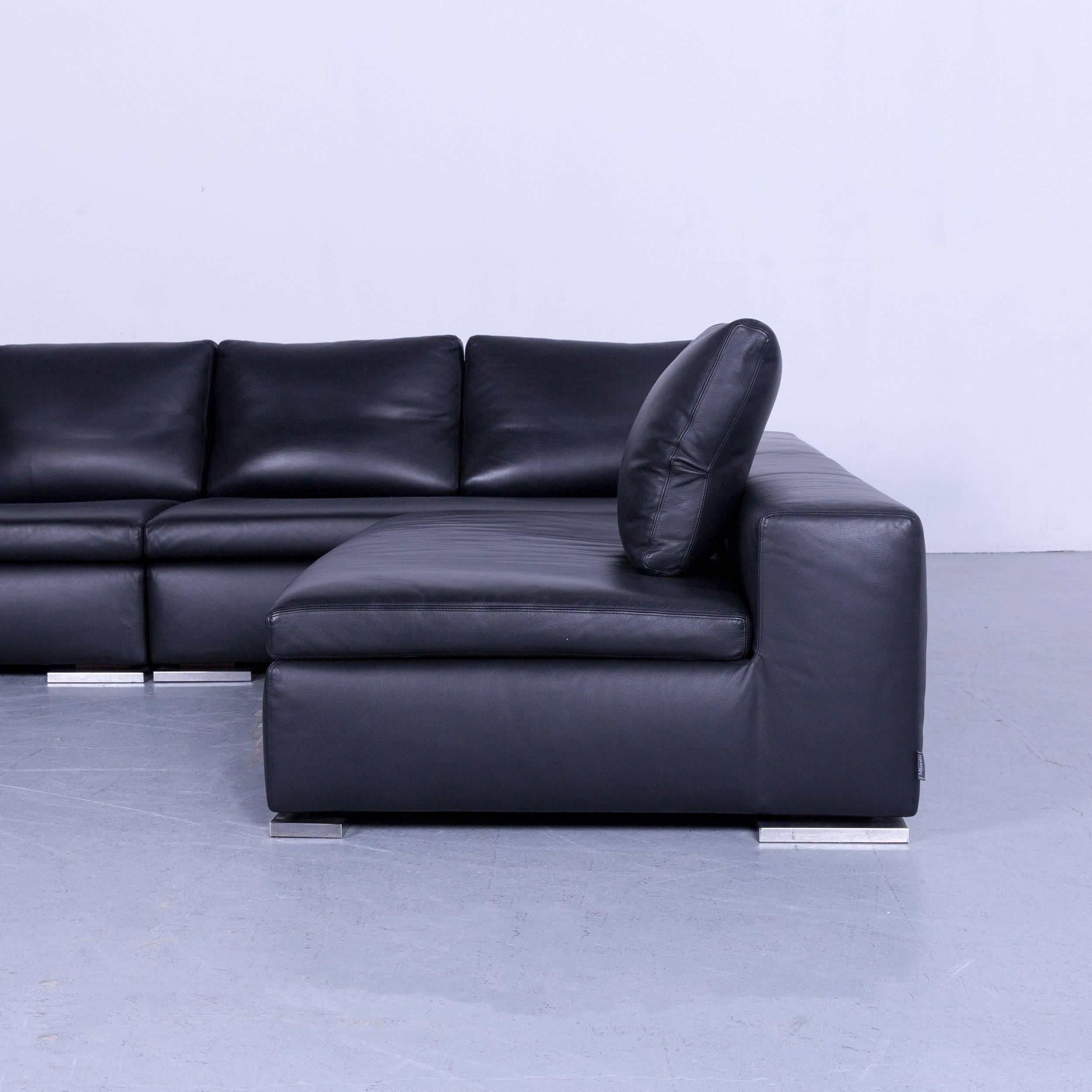 Italian Minotti Powell Designer Leather Corner Sofa Black Full Leather For  Sale