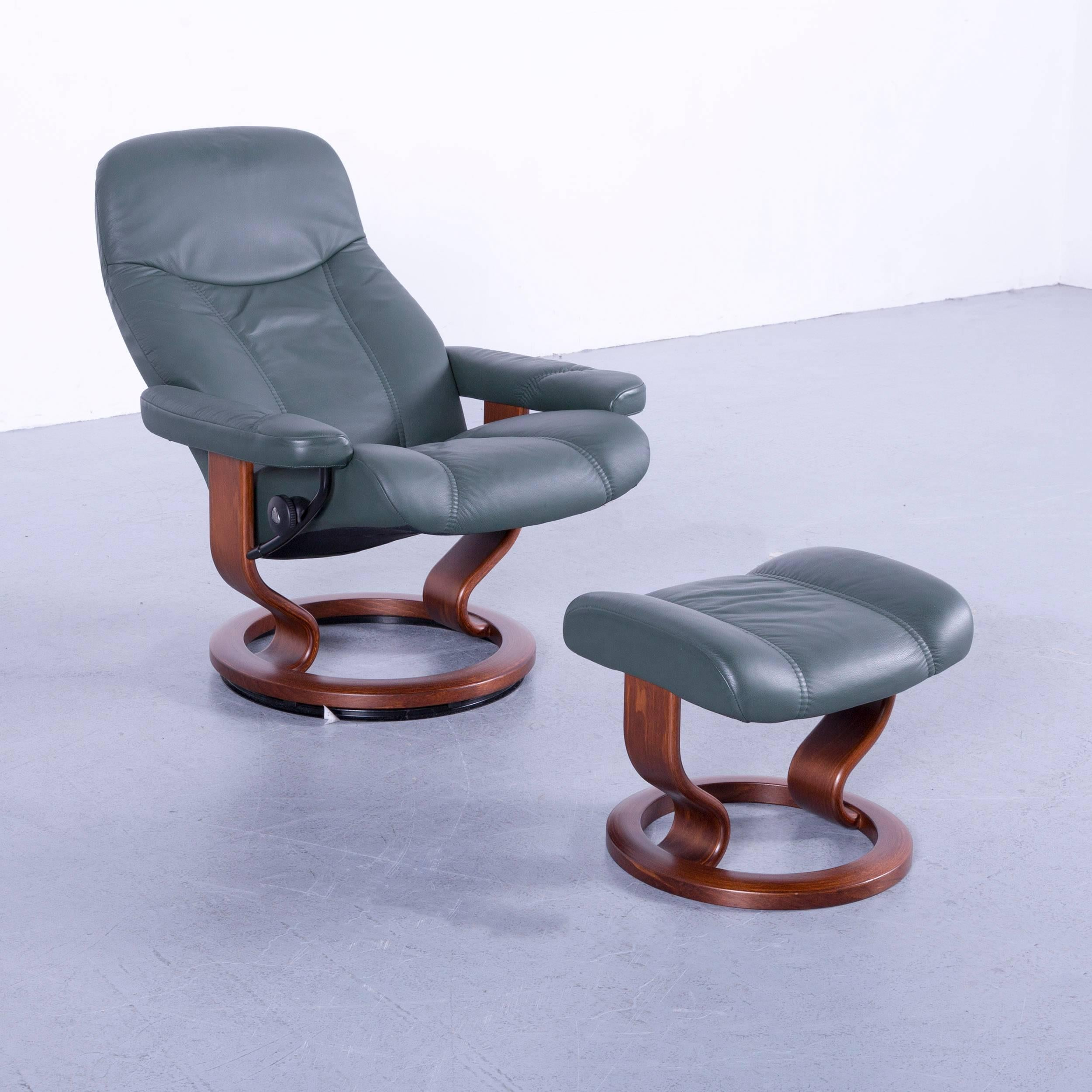 We Bring To You An Ekornes Stressless Consul Armchair Set Green Leather  Modern Recliner Chair.