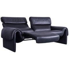 De Sede DS 2000 Designer Sofa Black Leather Relax Function Couch Switzerland