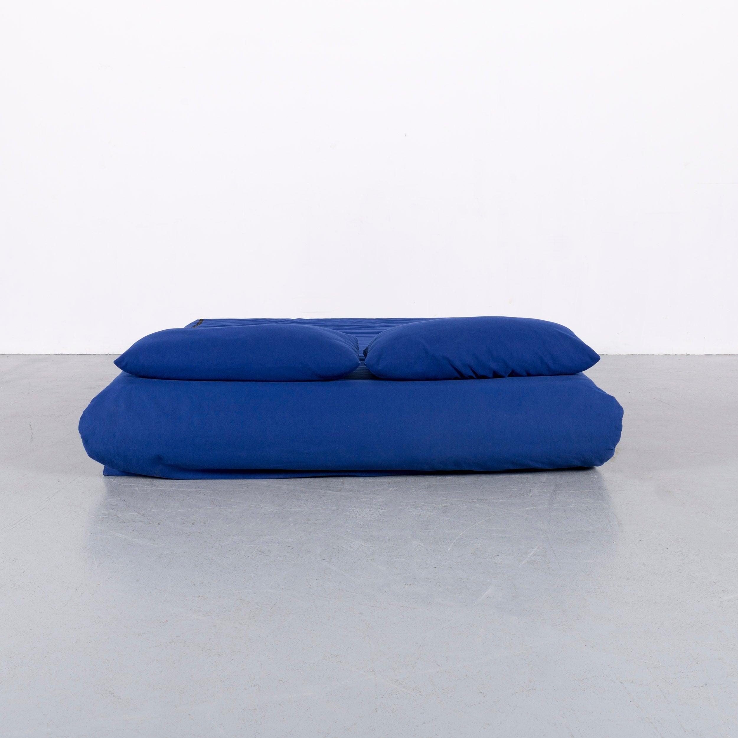 Ligne Roset Multi Designer Fabric Bed Sofa Blue Two Seat For Sale