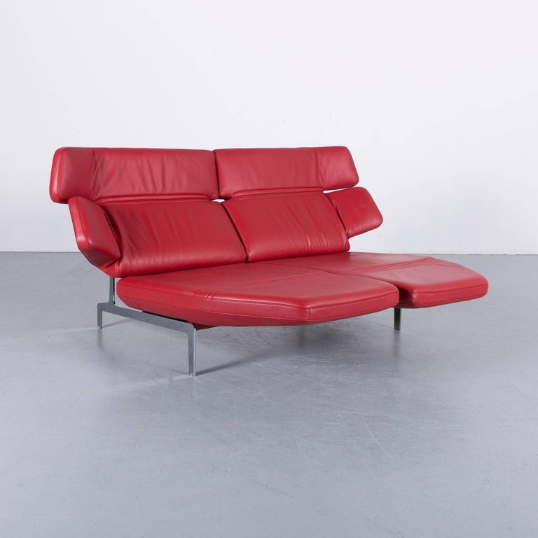 De Sede DS 480 Designer Sofa Red Leather Two-Seat Couch In Good Condition For Sale In Cologne, DE