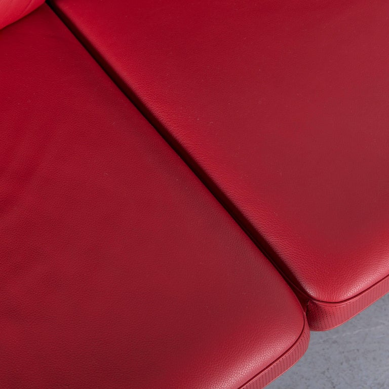 De Sede DS 480 Designer Sofa Red Leather Two-Seat Couch For Sale 3
