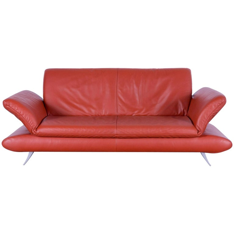 Koinor Rossini Designer Leather Sofa in Stunning Orange with Functions, Germany