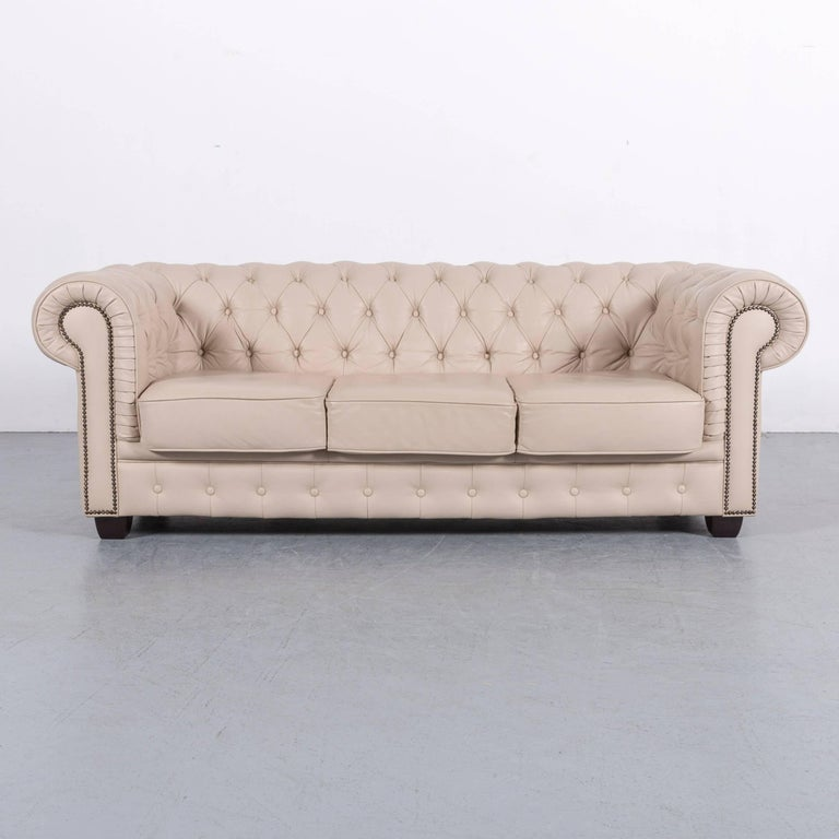 We Bring To You An Chesterfield Leather Sofa Set Off White Three Seat And
