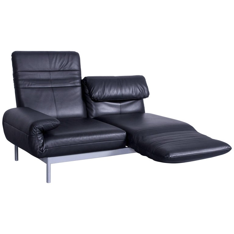 Rolf Benz Plura Designer Sofa Leather Black Relax Function
