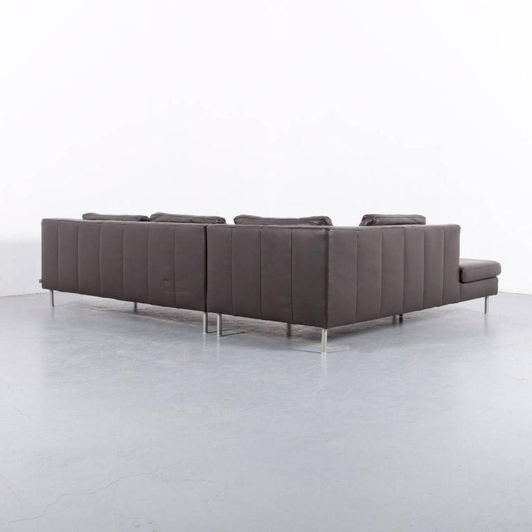 ewald schillig domino leather corner sofa brown couch at 1stdibs. Black Bedroom Furniture Sets. Home Design Ideas