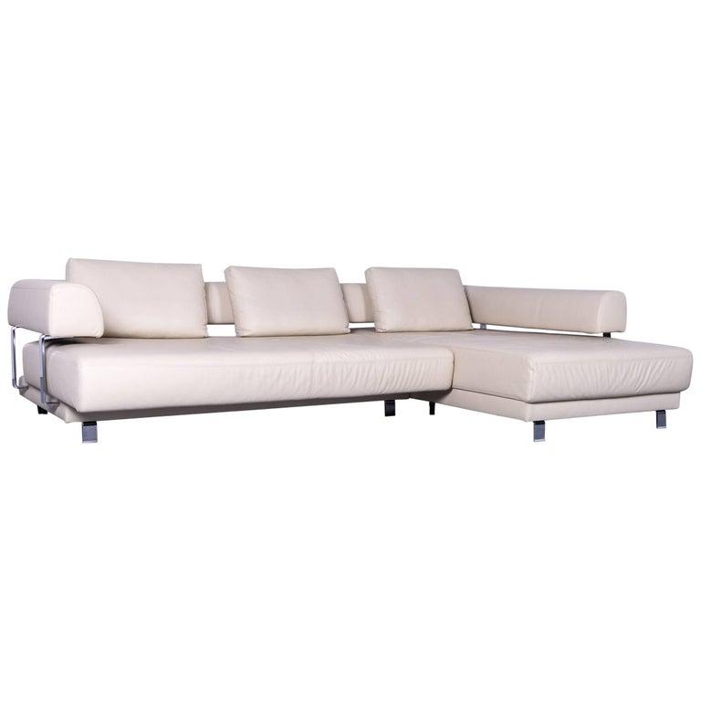 Ewald Schillig Brand Face Designer Corner Sofa Beige Leather Couch Modern