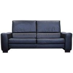 Ewald Schillig Designer Sofa Leather Black Three-Seat Couch Modern