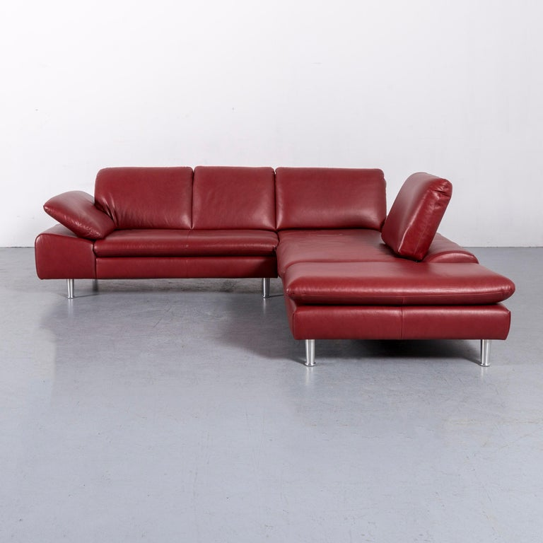Willi Schillig Loop Leather Corner-Sofa Red Couch For Sale 3