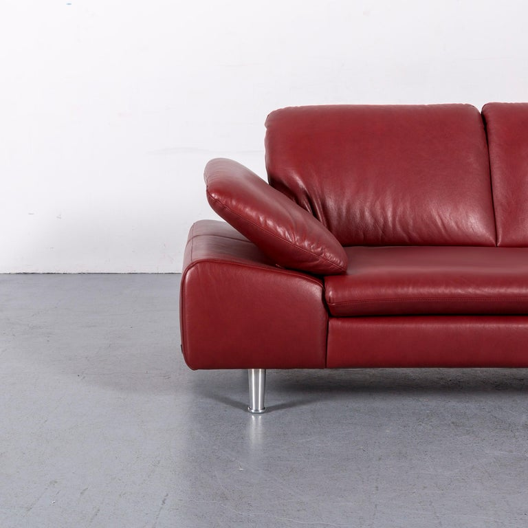 German Willi Schillig Loop Leather Corner-Sofa Red Couch For Sale