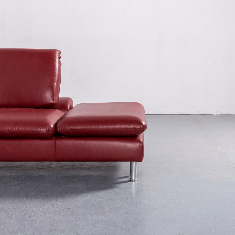 Willi Schillig Loop Leather Corner-Sofa Red Couch In Good Condition For Sale In Cologne, DE