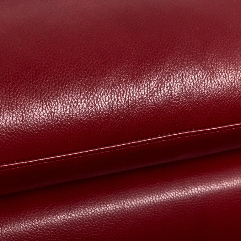 Willi Schillig Loop Leather Corner-Sofa Red Couch For Sale 1
