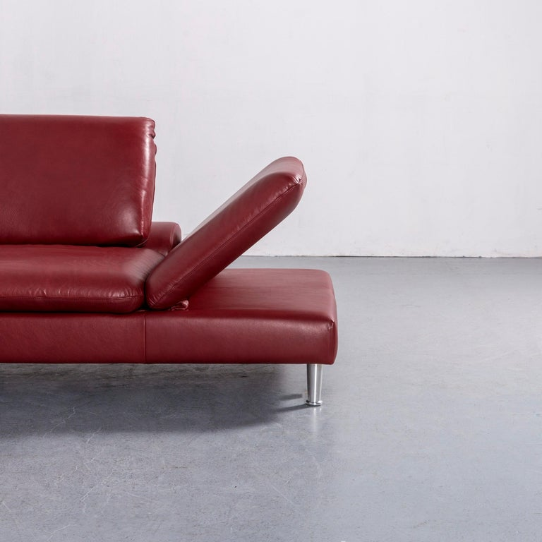 Contemporary Willi Schillig Loop Leather Corner-Sofa Red Couch For Sale