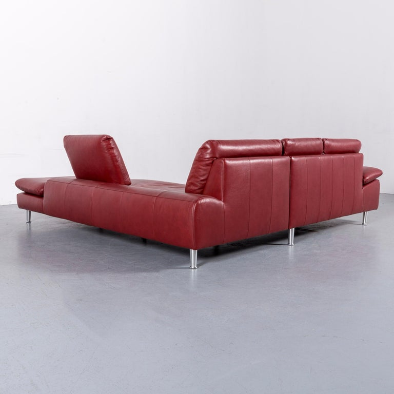 Willi Schillig Loop Leather Corner-Sofa Red Couch For Sale 5