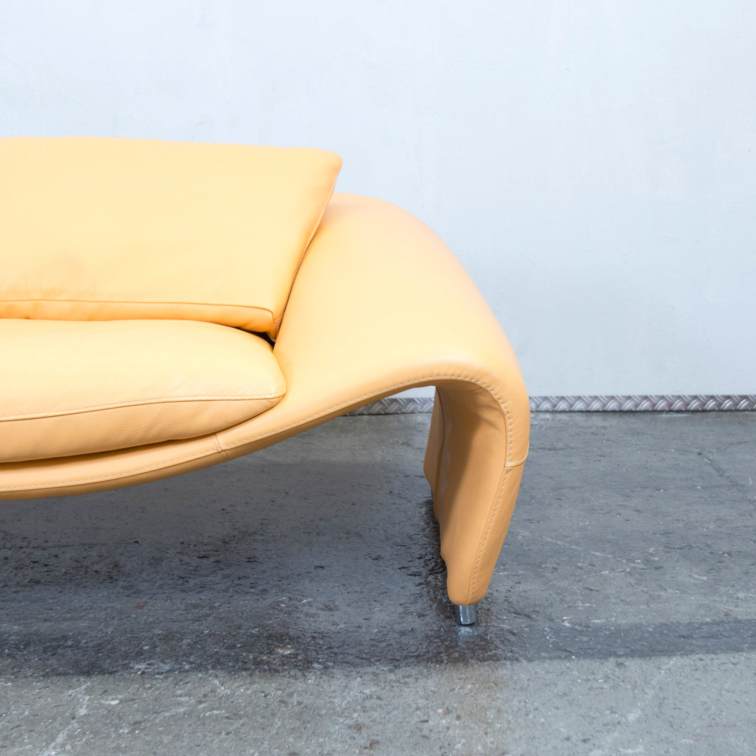 Chateau D Ax Voga Designer Leather Sofa Yellow Two Seat Couch Modern