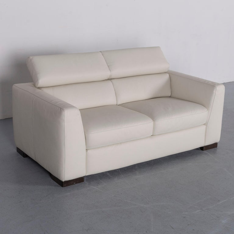 Italian Italsofa Designer Leather Sofa Crme White Modern Two Seat Couch For Sale