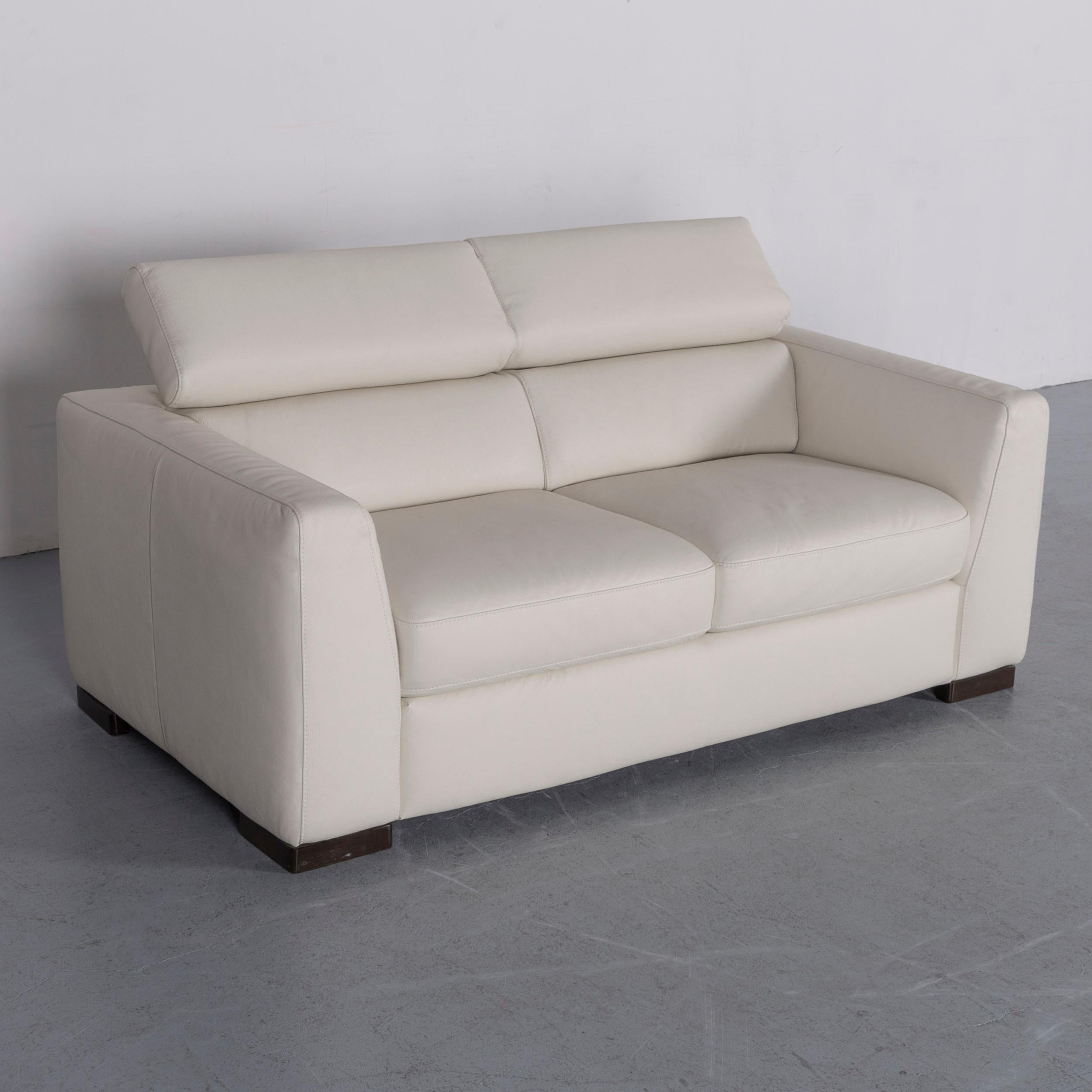 Italian Italsofa Designer Leather Sofa Crème White Modern Two Seat Couch  For Sale