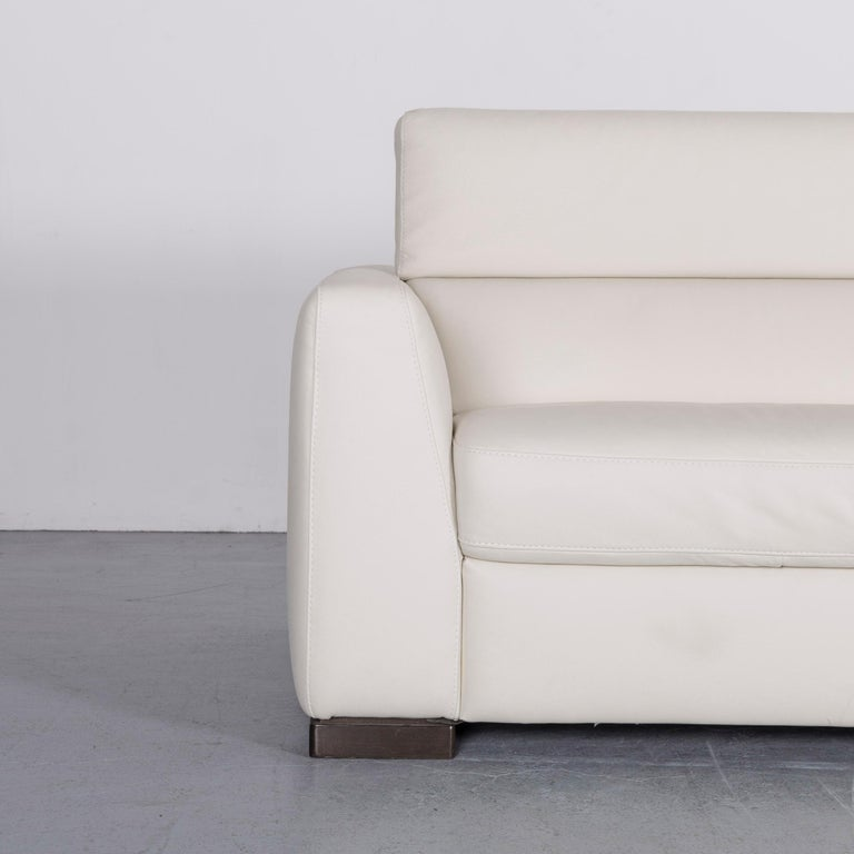 Italian Italsofa Designer Leather Sofa Crme White Modern Three Seat Couch For Sale