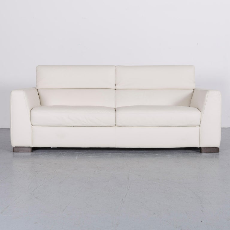 Italian Italsofa Designer Leather Sofa Set Crme White Modern Two Seat Three Couch
