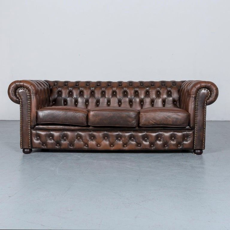 We Bring To You An Chesterfield Leather Sofa Brown Three Seat Armchair Set Vintage Retro